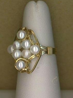 Cluster of White Pearl Ring