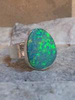 Bezeled Opal Ring Class Blue Green