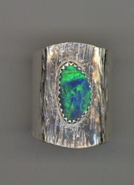 Australian Opal Silver Textured Wide Ring