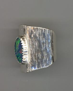 Australian Opal Silver Textured Wide Ring Side View